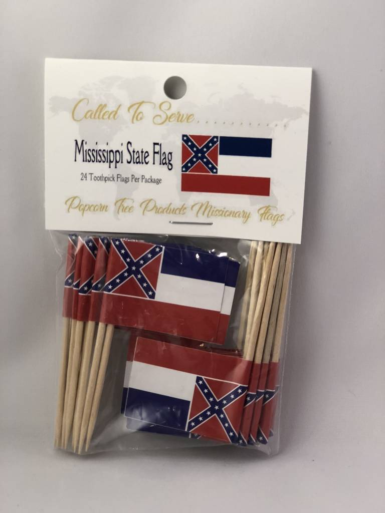 Popcorn Tree Called to Serve Toothpick Flags - Mississippi