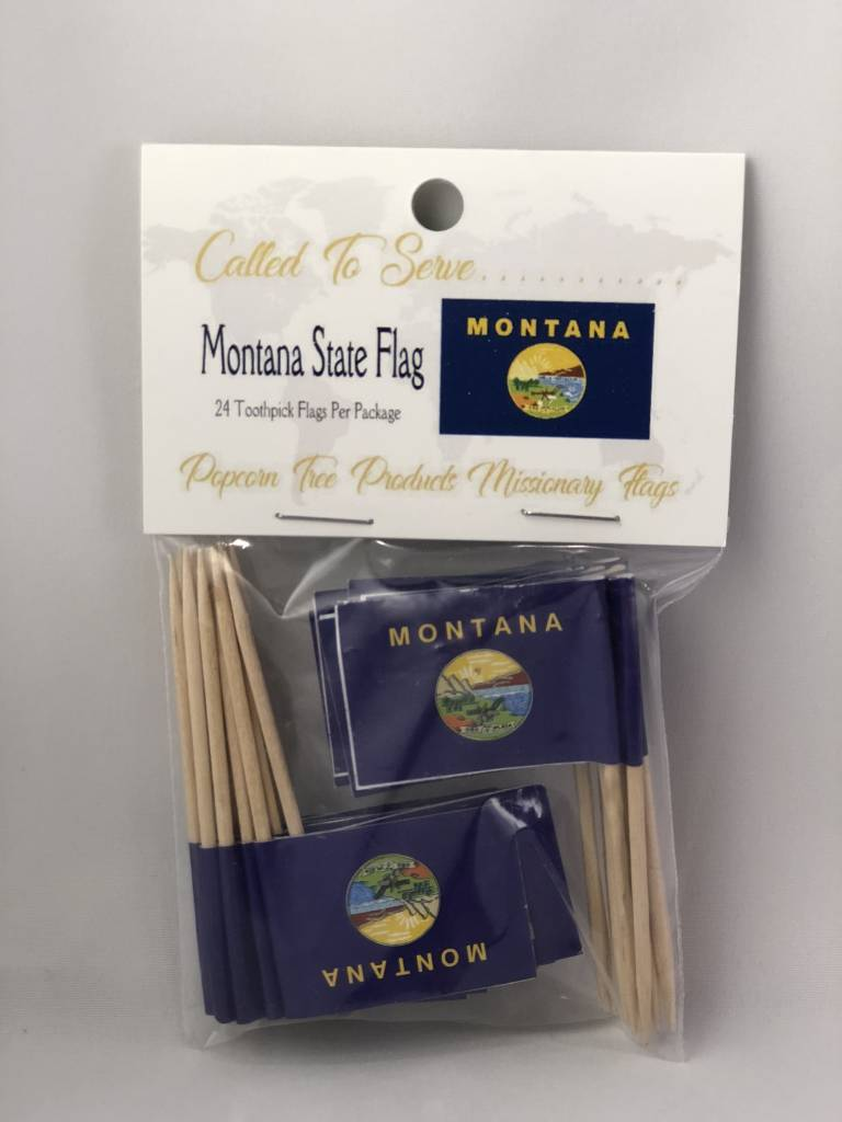 Popcorn Tree Called to Serve Toothpick Flags - Montana