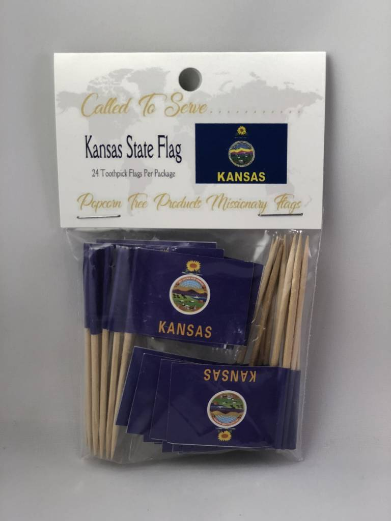 Popcorn Tree Called to Serve Toothpick Flags - Kansas