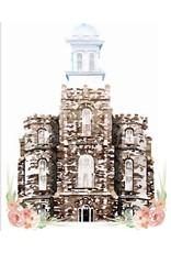 Popcorn Tree Watercolor Temple White 5x7- Logan