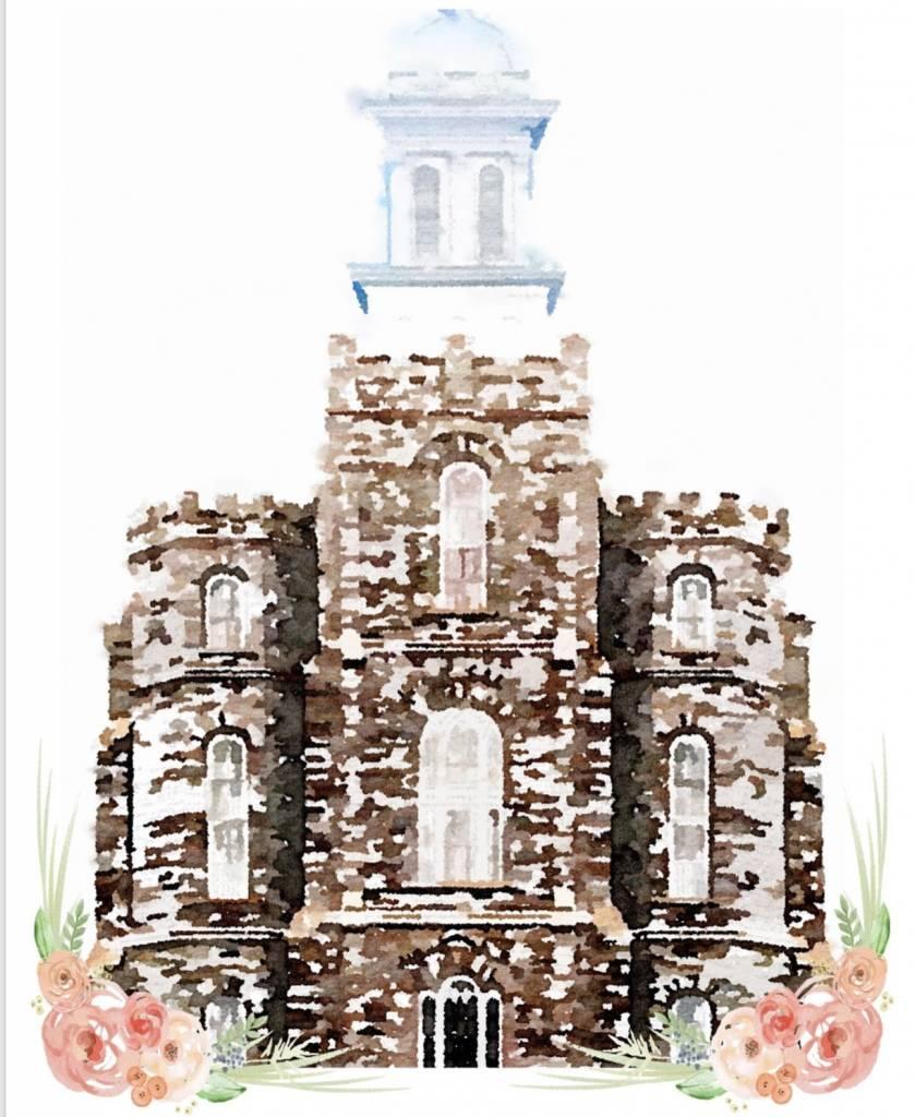 Popcorn Tree Watercolor Temple White 8x10 - Logan