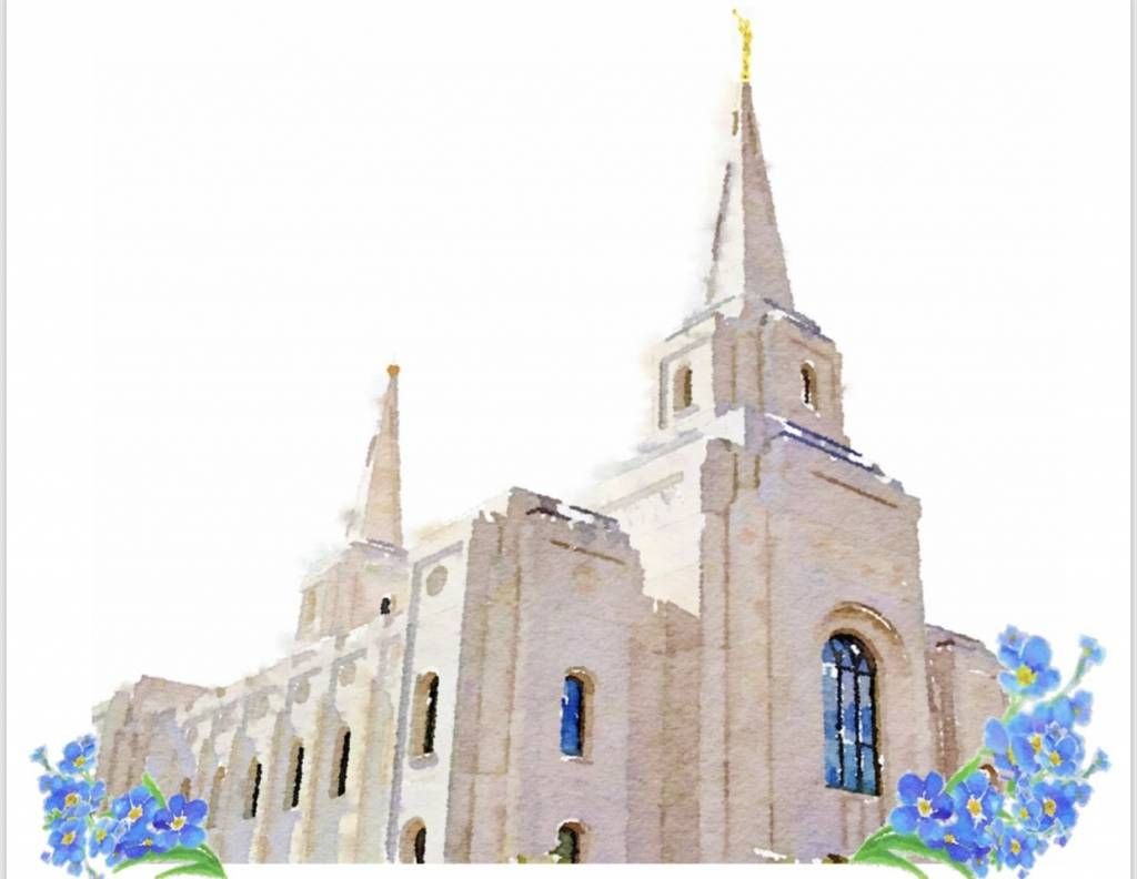 Popcorn Tree Watercolor Temple White 5x7 - Brigham City