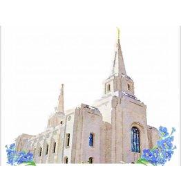 Popcorn Tree Watercolor Temple White 8x10 - Brigham City