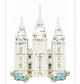 Popcorn Tree Watercolor Temple White 8x10 - Salt Lake