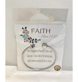Popcorn Tree YW Value Cubic Zicornia Open Cuff Bracelet - Faith