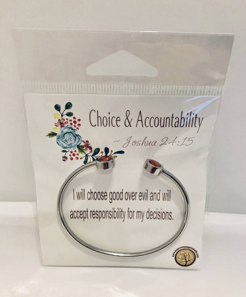 Popcorn Tree YW Value Cubic Zicornia Open Cuff Bracelet - Choice and Accountability