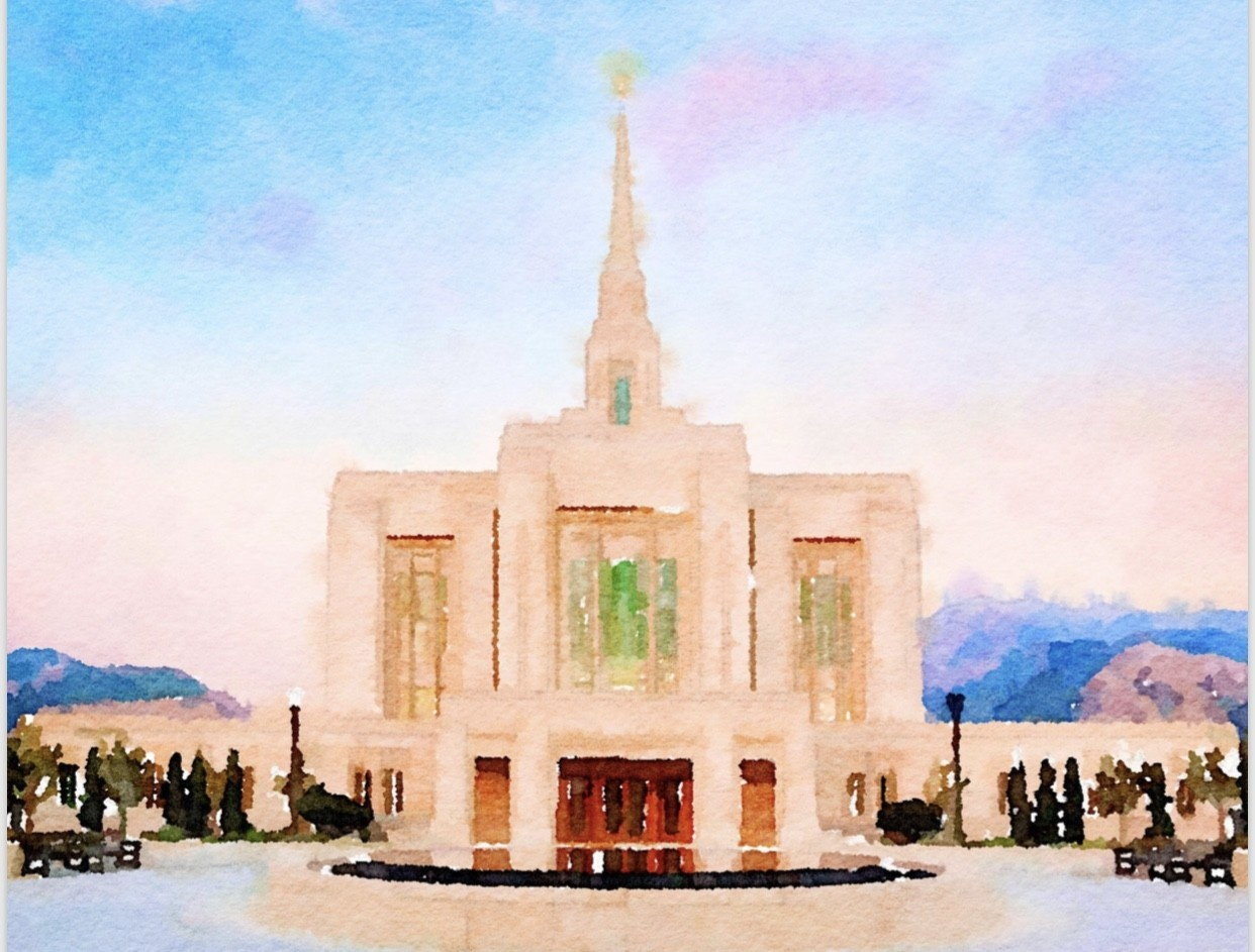 Watercolor Temple Full Background 11x14  - Ogden