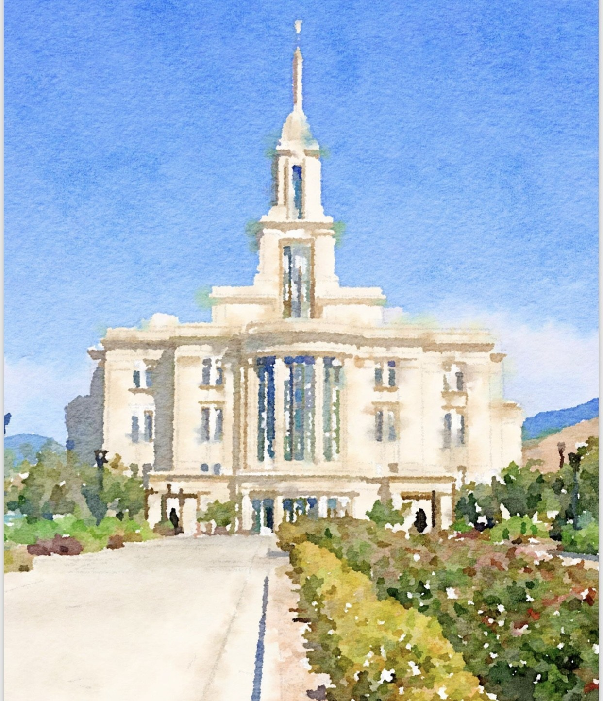 Watercolor Temple Full Background 11x14 - Payson
