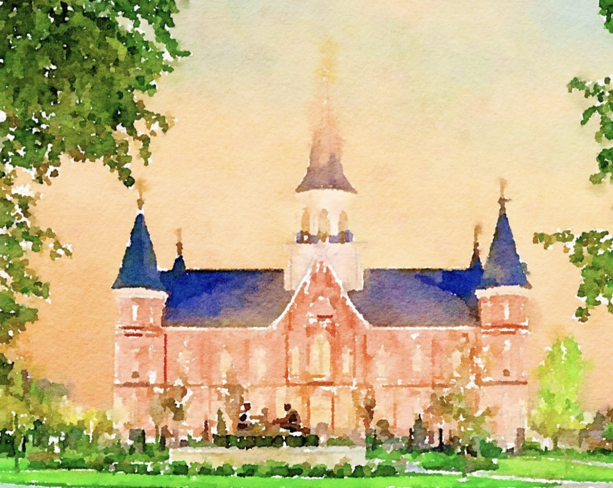 Watercolor Temple Full Background 11x14 - Provo Coty Center