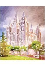Watercolor Temple Full Background 11x14 - Salt Lake (portrait)