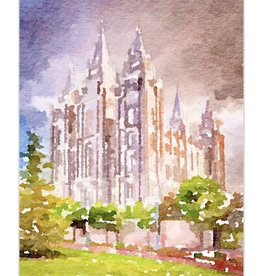 Watercolor Temple 11x14 - Salt Lake (portrait)