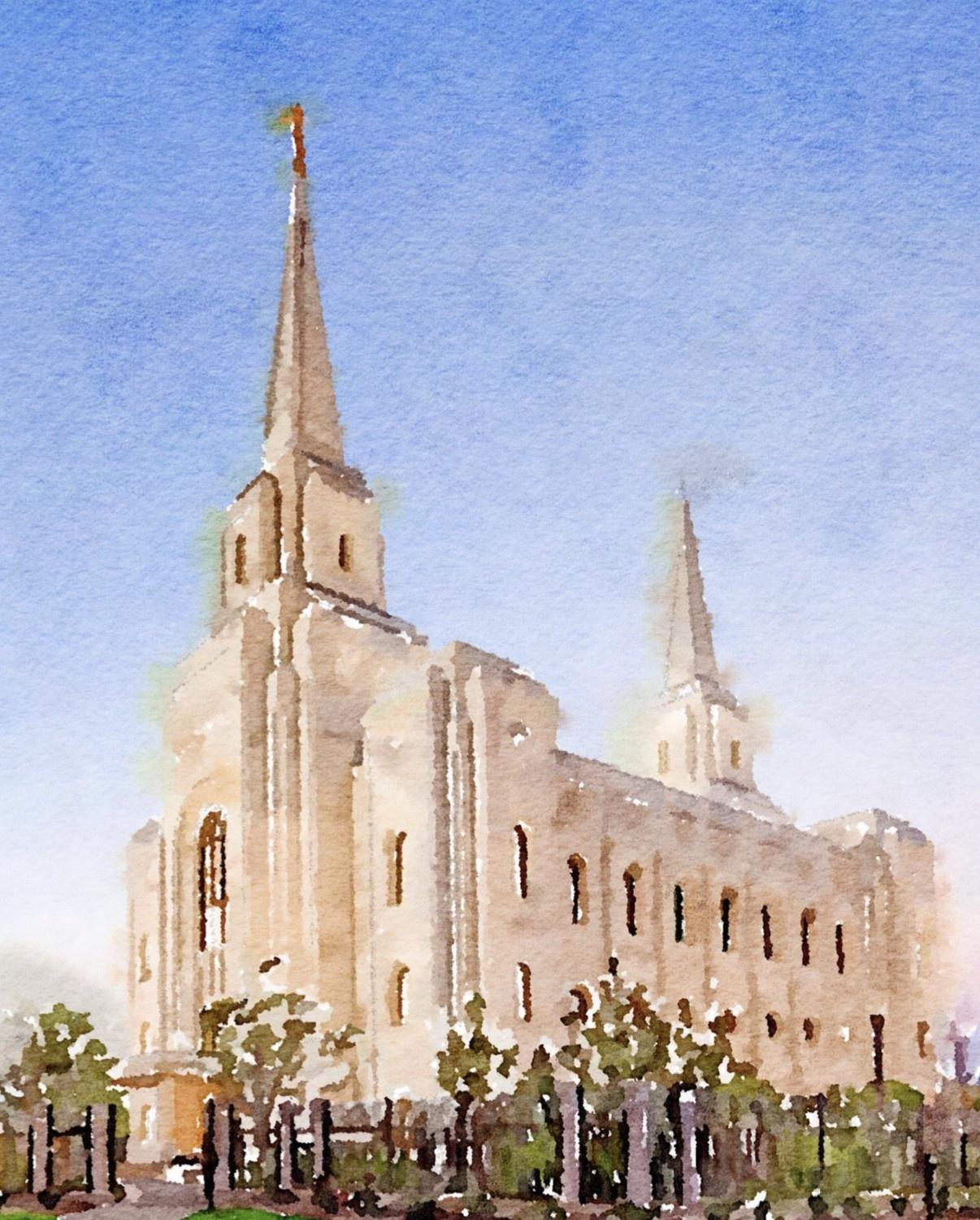 Watercolor Temple Full Background 8x10 - Brigham City