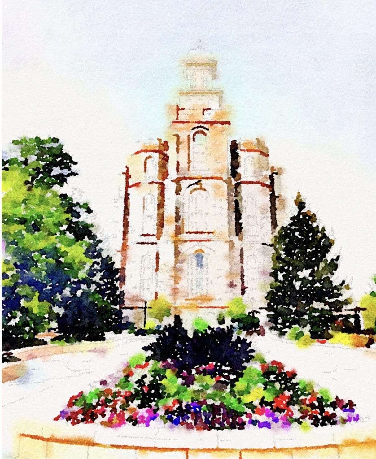 Watercolor Temple Full Background 8x10 - Logan (portrait)