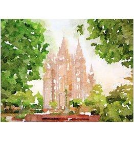 Watercolor Temple 8x10 - Salt Lake (landscape)