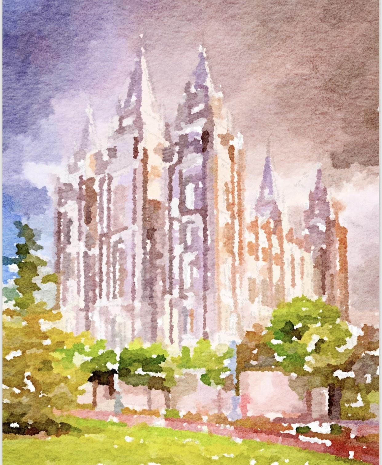 Watercolor Temple Full Background 8x10 - Salt Lake (portrait)