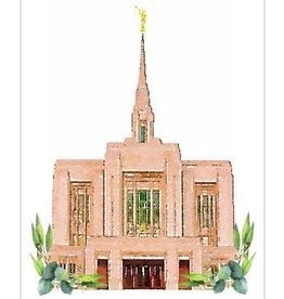 Watercolor Temple 5x7 - Ogden