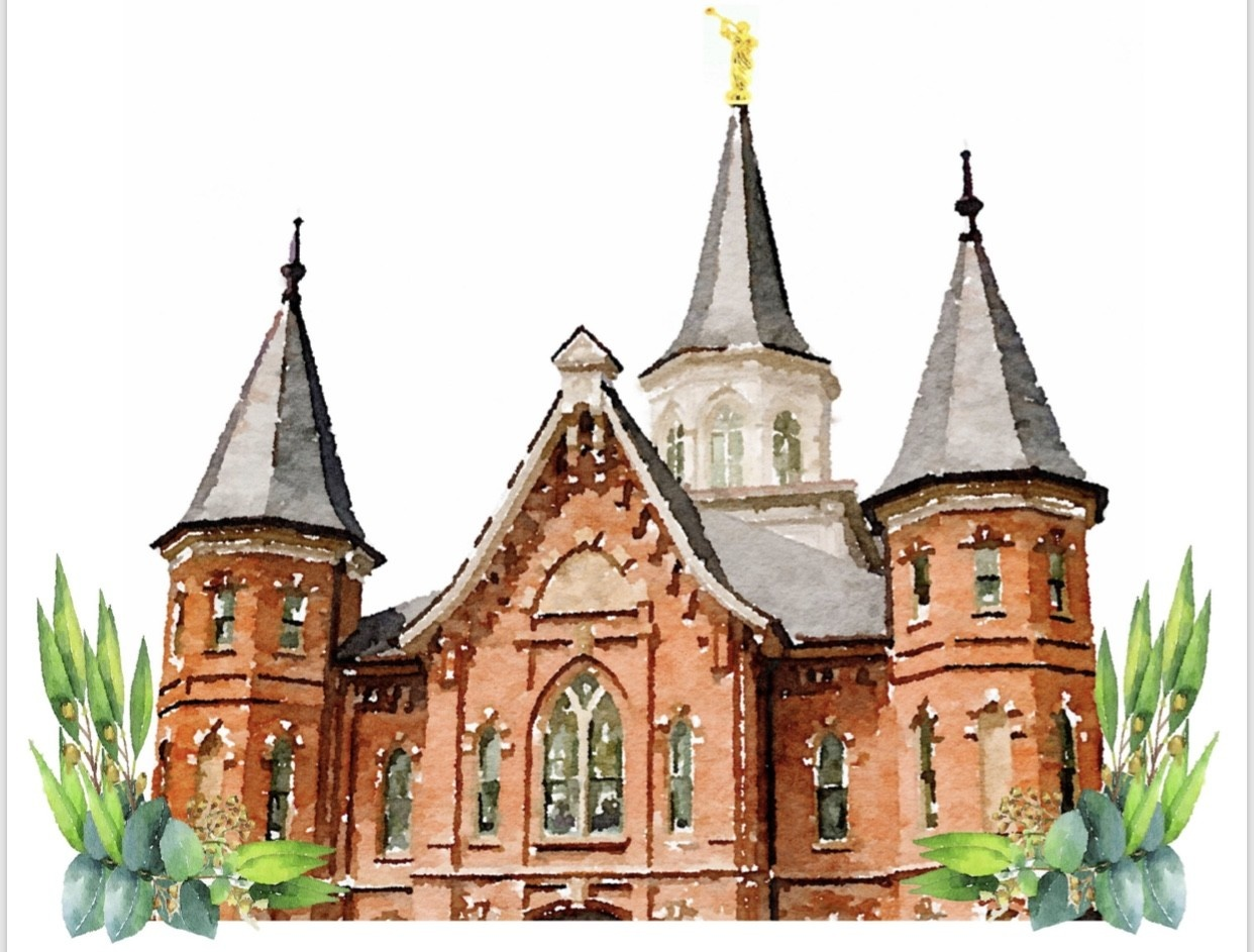 Watercolor Temple White 5x7 - Provo City Center