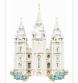 Watercolor Temple 5x7 - Salt Lake