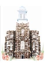 Watercolor Temple White 5x7- Logan