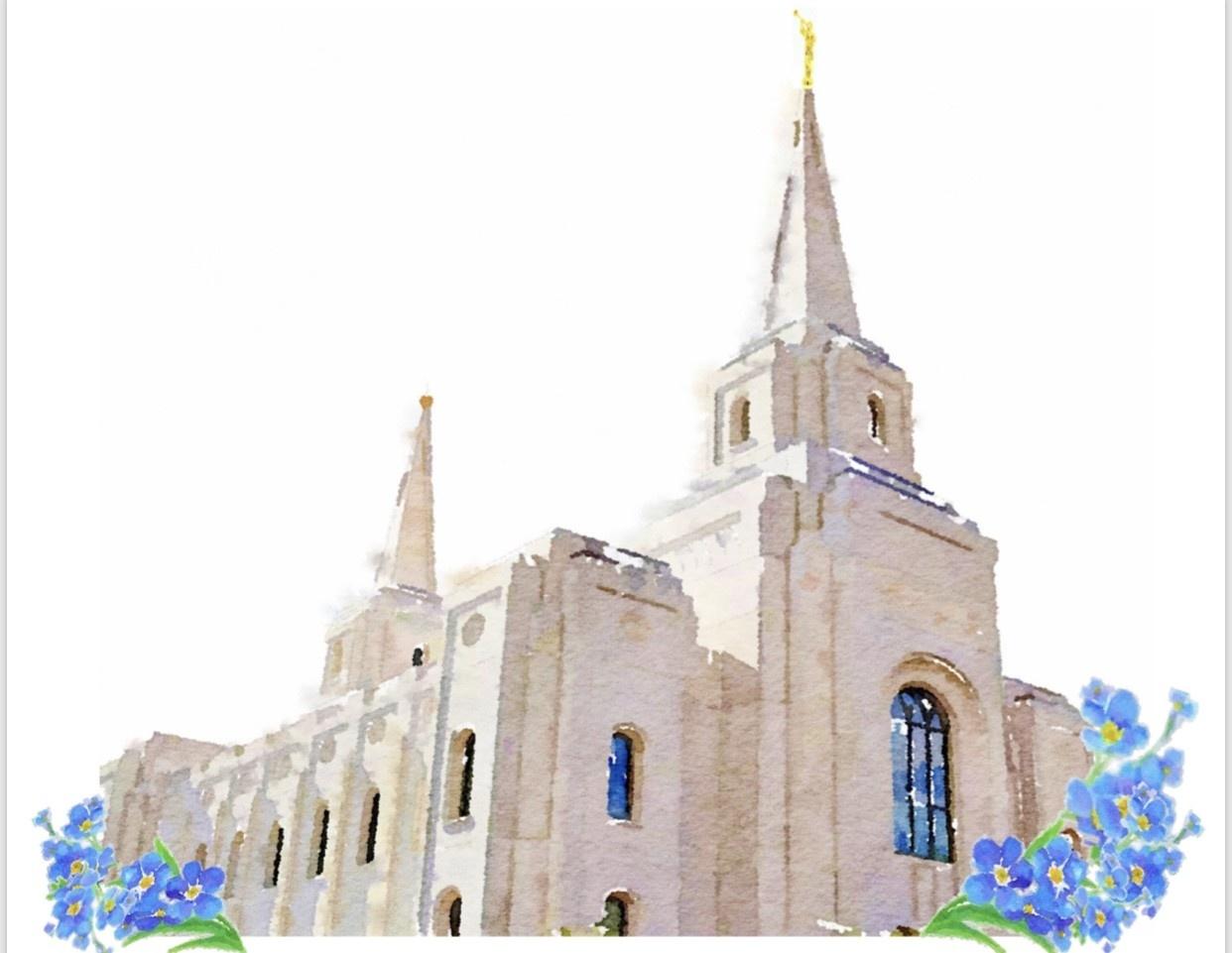 Watercolor Temple White 8x10 - Brigham City