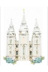 Watercolor Temple White 8x10 - Salt Lake