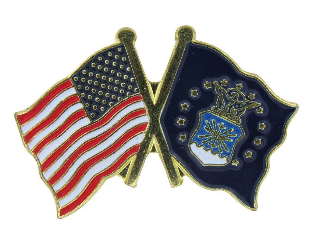 Lapel Pin - US and Air Force Flags