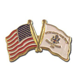 Lapel Pin - US and Coast Guard Flags