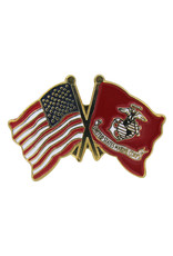 Lapel Pin - US and Marine Flags