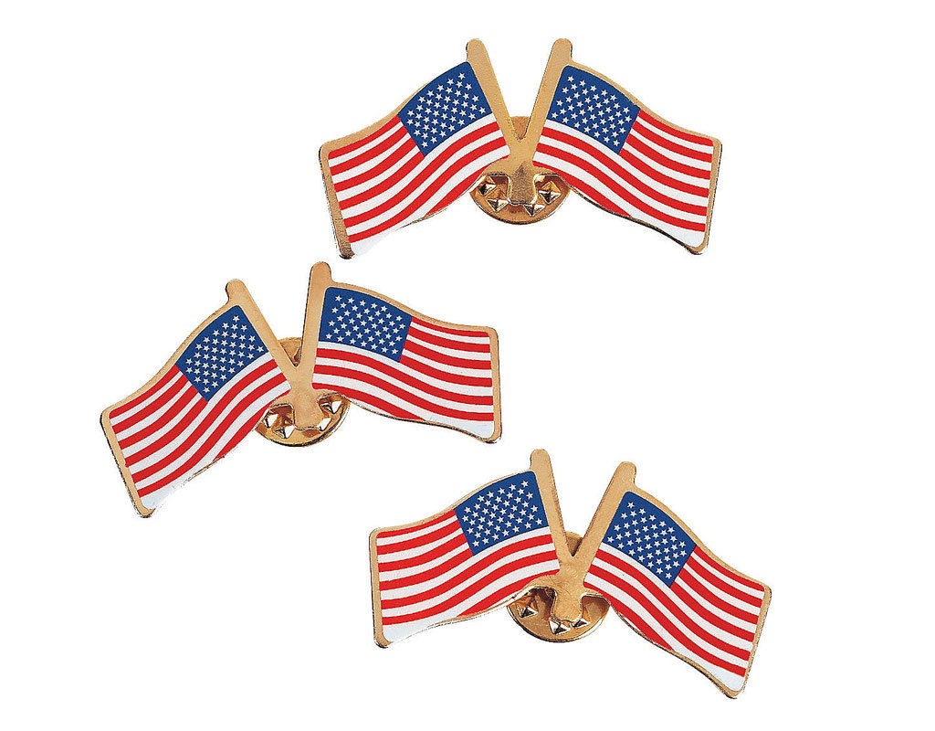 FUN EXPRESS Lapel Pins - United States (USA) Double Flag 24ct