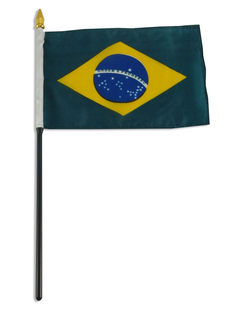 "Stick Flag 4""x6"" - Brazil"