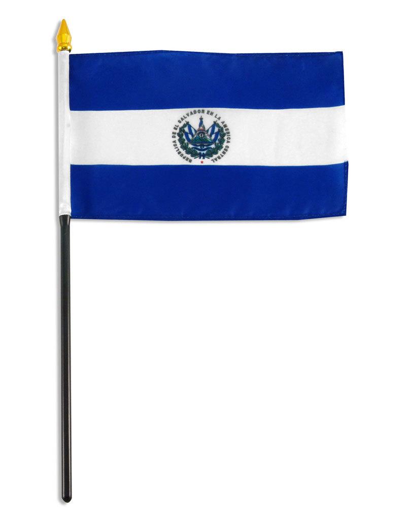 """Stick Flag 4""""x6"""" - El Salvador"""