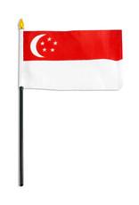 """Stick Flag 4""""x6"""" - Singapore"""