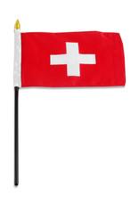 """Stick Flag 4""""x6"""" - Switzerland"""