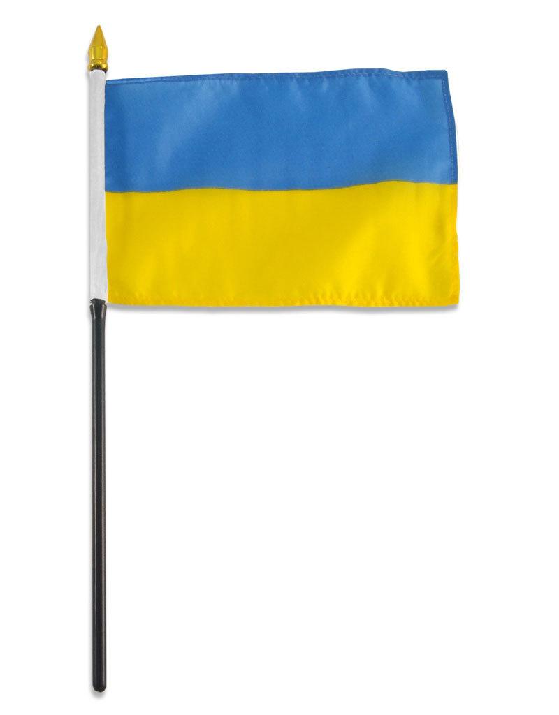 """Stick Flag 4""""x6"""" - Ukraine"""
