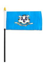 """Stick Flag 4""""x6"""" - Connecticut"""