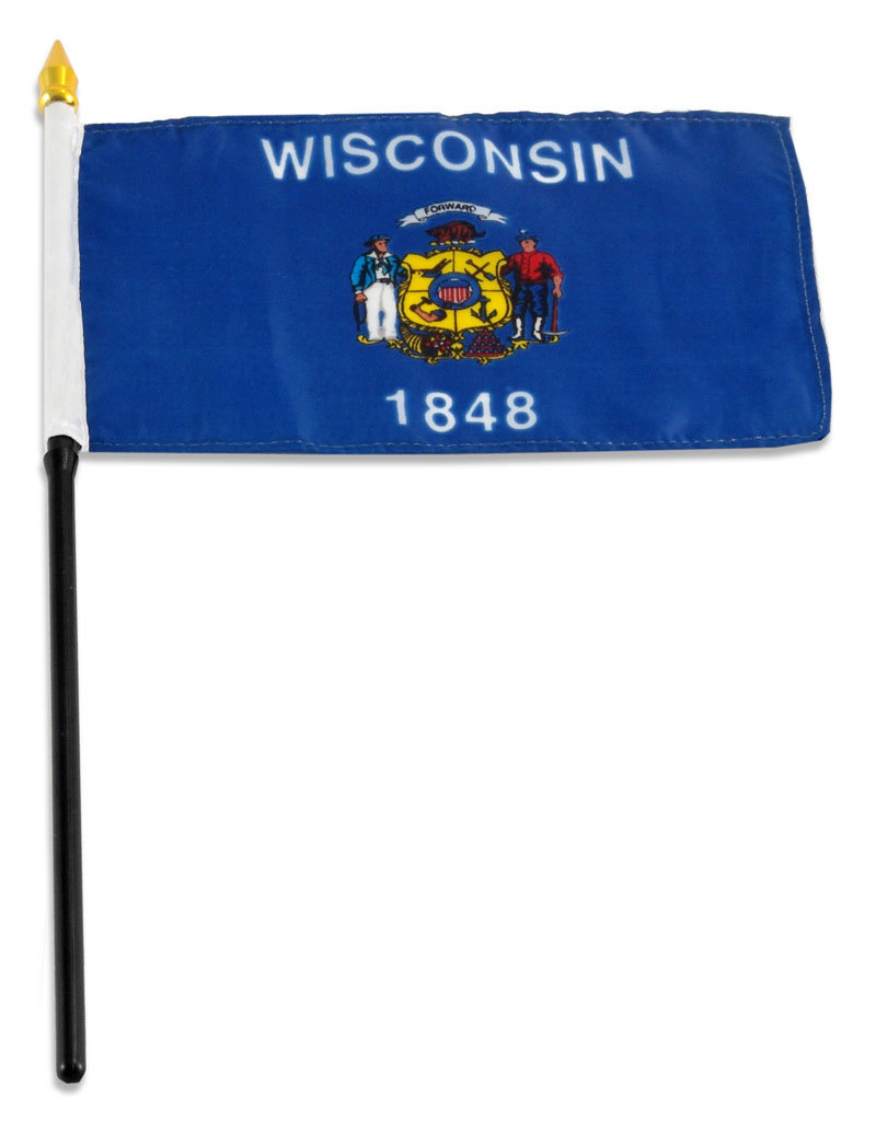 "Stick Flag 4""x6"" - Wisconsin"