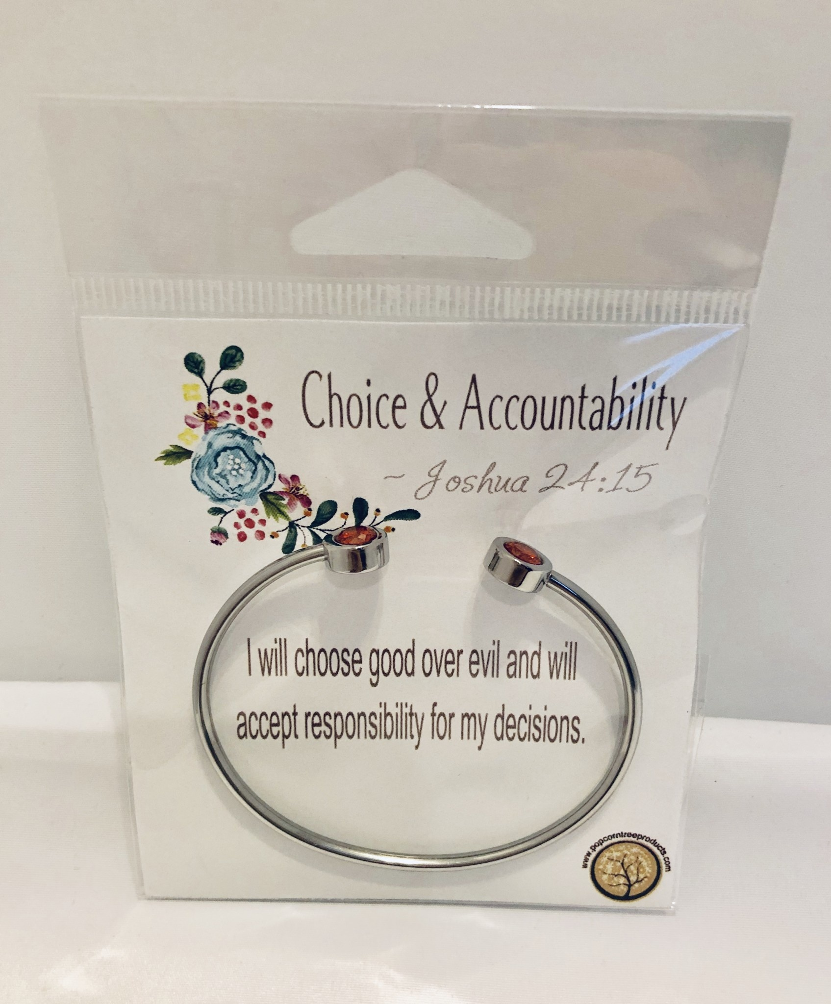 YW Value Cubic Zicornia Open Cuff Bracelet - Choice and Accountability