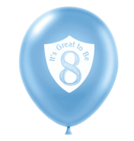 Great to Be 8 Balloon Blue Pearl