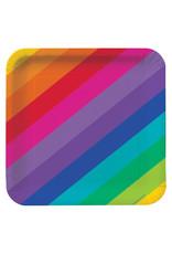 "Creative Converting Rainbow - Plates, 9"" Square Dinner"