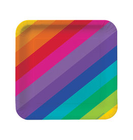 "Creative Converting Rainbow - Plates, 9"" Square Dinner"