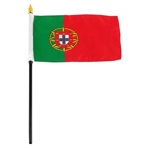 "Popcorn Tree Stick Flag 4""x6"" - Portugal"