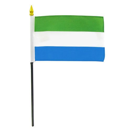 "Popcorn Tree Stick Flag 4""x6"" - Sierra Leone"