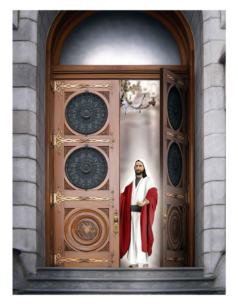 """Brent Borup Card - Christ at the Door, 3"""" x 4"""""""
