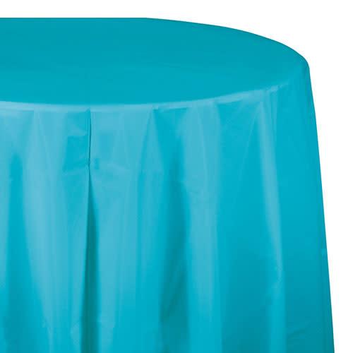 "Creative Converting Bermuda Blue - Tablecover, 82"" Rnd Plastic"