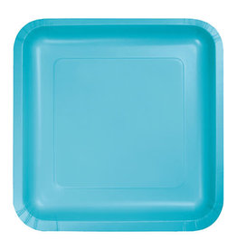 "Creative Converting Bermuda Blue - Plates, 7"" Square Paper 18ct"