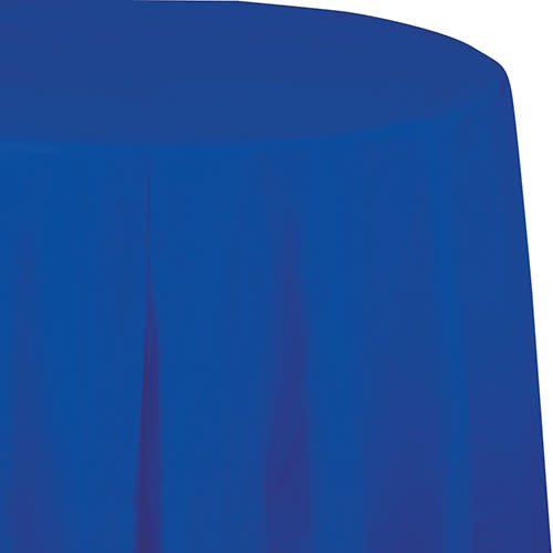 """Creative Converting Cobalt - Tablecover, 82"""" Round Plastic"""