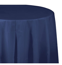 "Creative Converting Navy - Tablecover, 82"" Rnd Plastic"