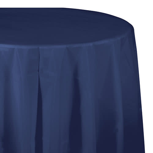 """Creative Converting Navy - Tablecover, 82"""" Rnd Plastic"""