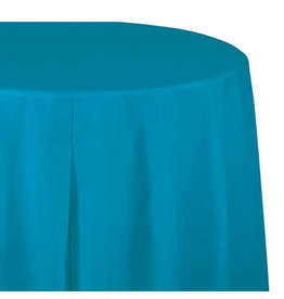 "Creative Converting Turquoise - Tablecover, 82"" Rnd Plastic"