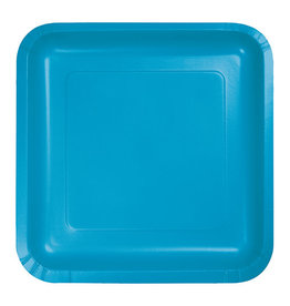 "Creative Converting Turquoise - Plates, 7"" Square Paper 18ct"